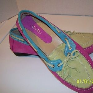 VANELi Pink/Teal/Lime Suede Boat Shoes Women's 8.5